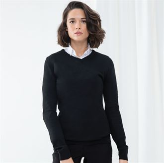 Women's cashmere touch acrylic v-neck jumper