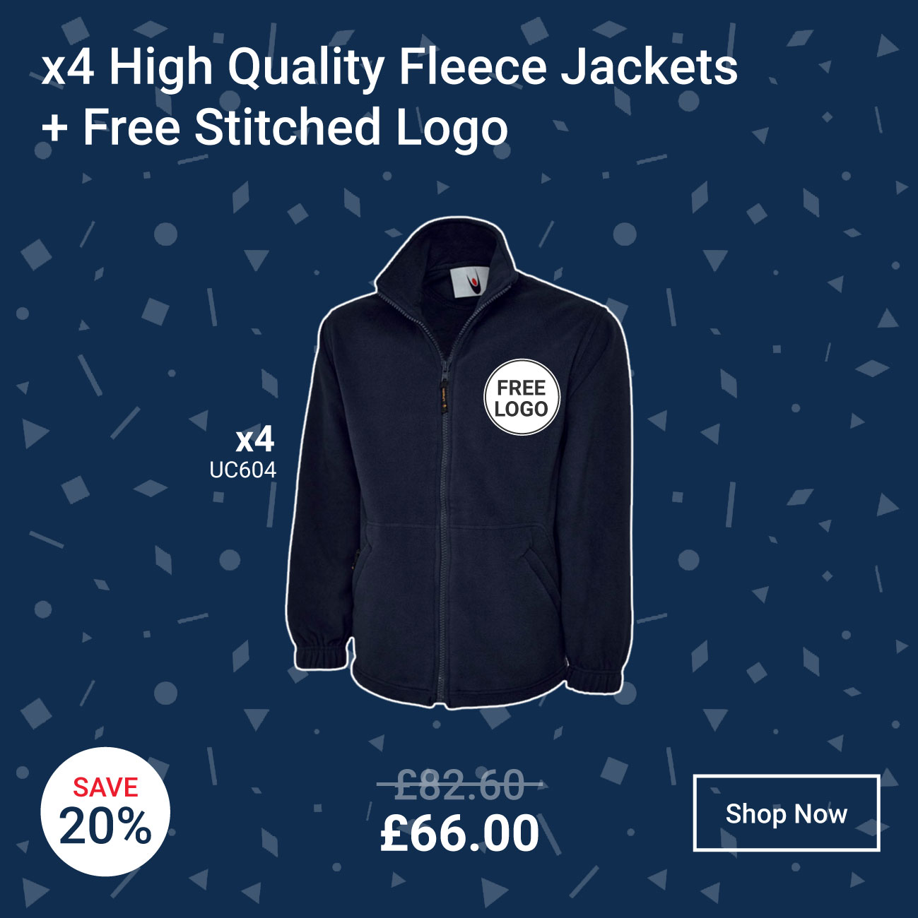 4 x High Quality Fleece Jackets + Free Stitched Logo